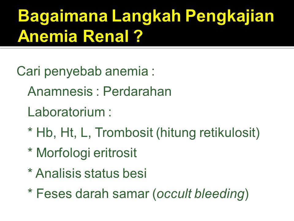 Cari penyebab anemia :  Anamnesis : Perdarahan  Laboratorium : * Hb, Ht, L, Trombosit (hitung retikulosit) * Morfologi eritrosit * Analisis status b