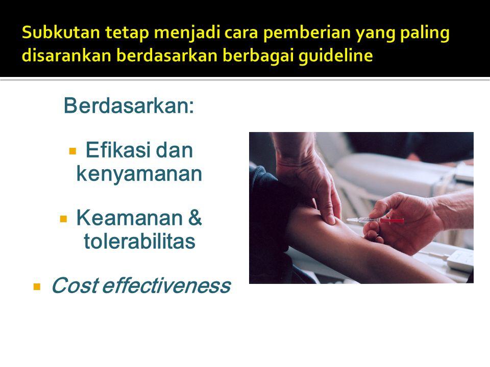 Berdasarkan:  Efikasi dan kenyamanan  Keamanan & tolerabilitas  Cost effectiveness