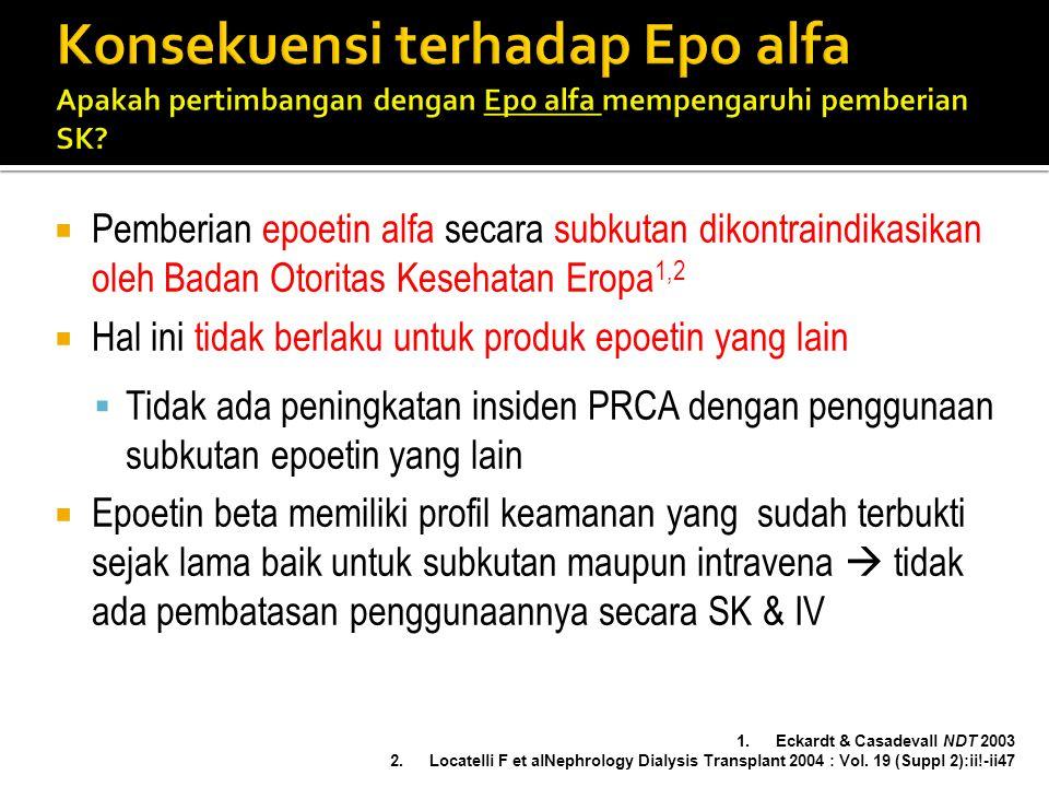  Pemberian epoetin alfa secara subkutan dikontraindikasikan oleh Badan Otoritas Kesehatan Eropa 1,2  Hal ini tidak berlaku untuk produk epoetin yang