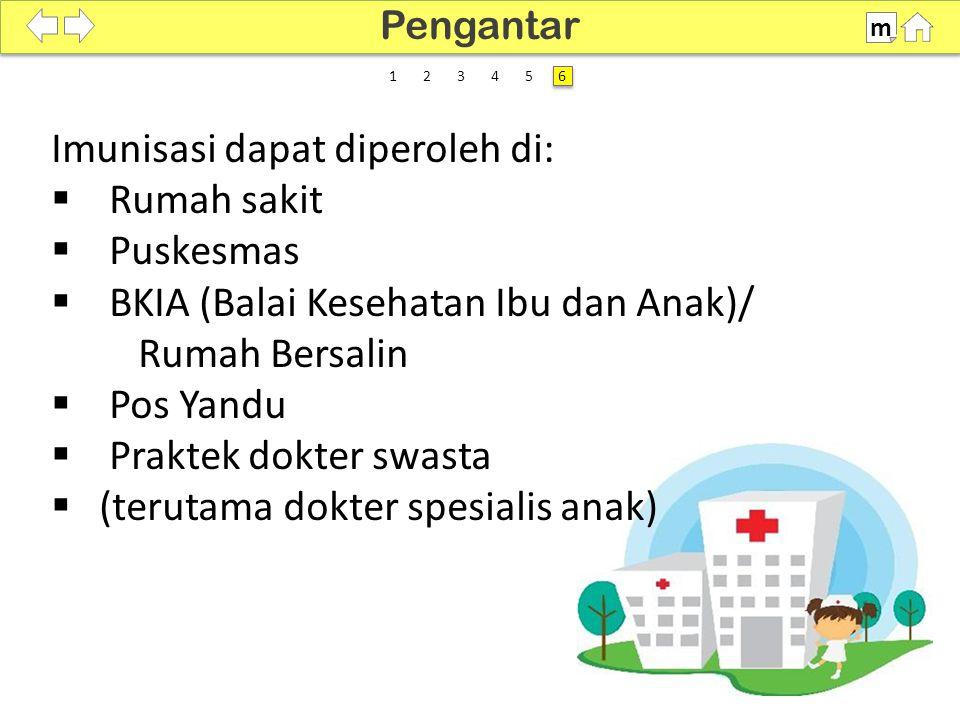 100% SDKI 2012 Pengantar m 6 6 Imunisasi dapat diperoleh di:  Rumah sakit  Puskesmas  BKIA (Balai Kesehatan Ibu dan Anak)/ Rumah Bersalin  Pos Yan
