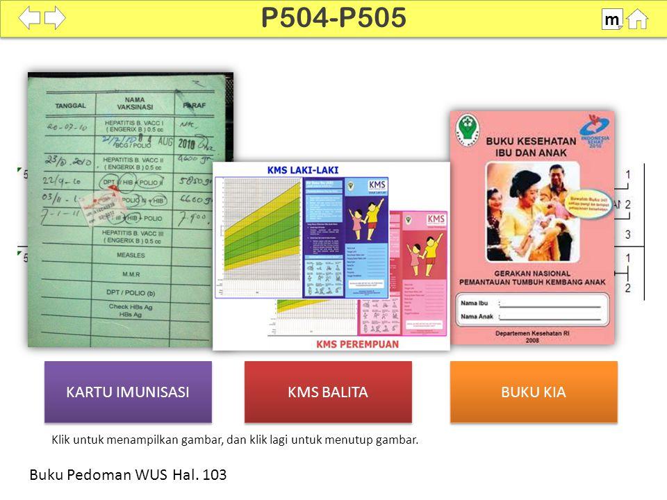 KARTU IMUNISASI KMS BALITA BUKU KIA 100% SDKI 2012 P504-P505 m Buku Pedoman WUS Hal. 103 Klik untuk menampilkan gambar, dan klik lagi untuk menutup ga