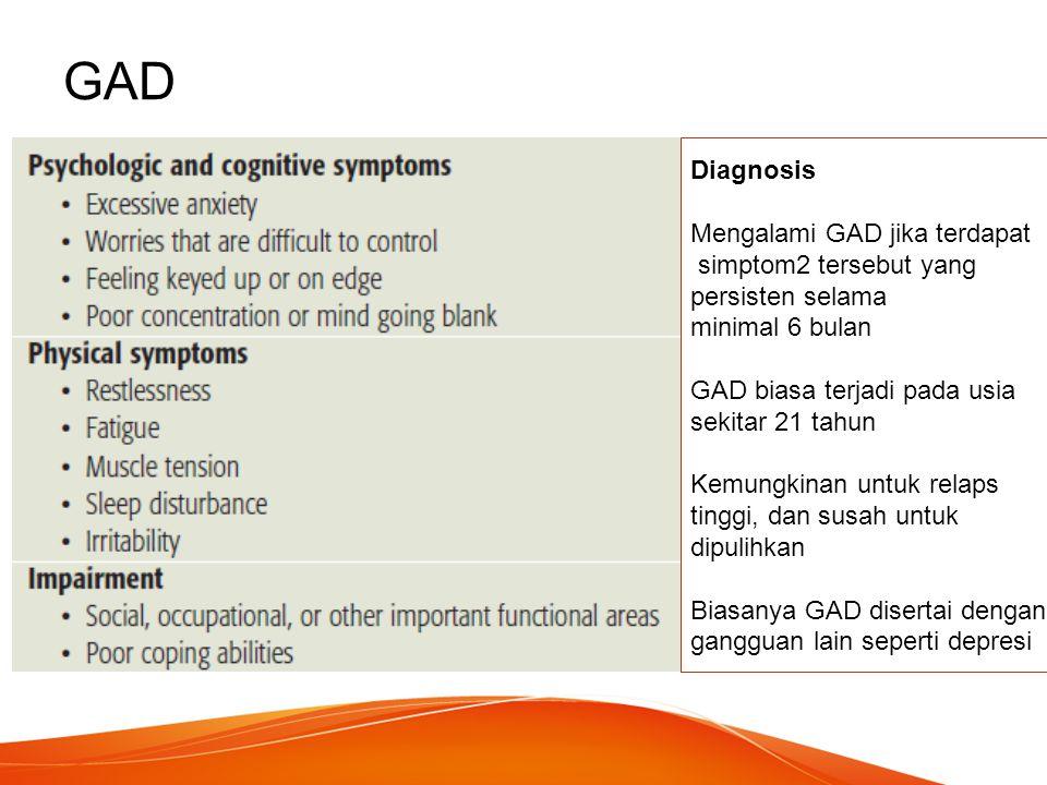 GAD Diagnosis Mengalami GAD jika terdapat simptom2 tersebut yang persisten selama minimal 6 bulan GAD biasa terjadi pada usia sekitar 21 tahun Kemungk