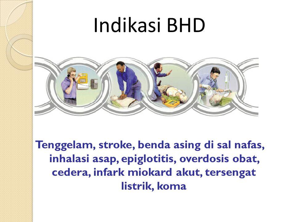 Tenggelam, stroke, benda asing di sal nafas, inhalasi asap, epiglotitis, overdosis obat, cedera, infark miokard akut, tersengat listrik, koma Indikasi