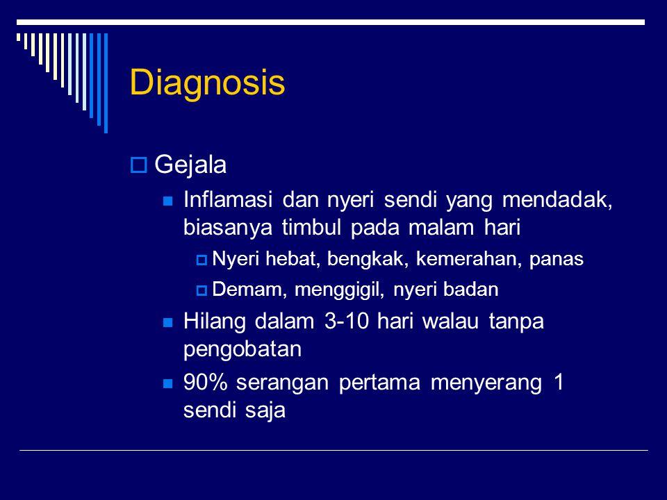 Diagnosis  Gejala Inflamasi dan nyeri sendi yang mendadak, biasanya timbul pada malam hari  Nyeri hebat, bengkak, kemerahan, panas  Demam, menggigi