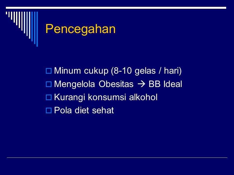  Minum cukup (8-10 gelas / hari)  Mengelola Obesitas  BB Ideal  Kurangi konsumsi alkohol  Pola diet sehat Pencegahan