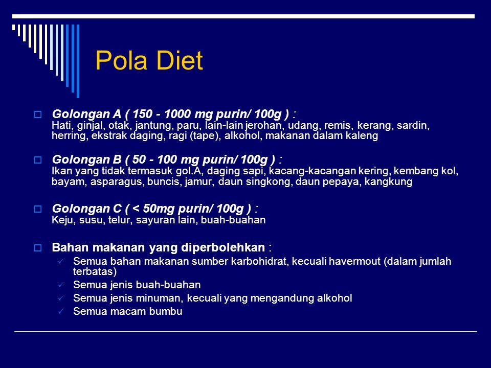 Pola Diet  Golongan A ( 150 - 1000 mg purin/ 100g ) : Hati, ginjal, otak, jantung, paru, lain-lain jerohan, udang, remis, kerang, sardin, herring, ek