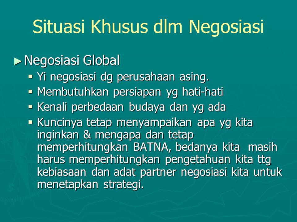 Situasi Khusus dlm Negosiasi ► Negosiasi Global  Yi negosiasi dg perusahaan asing.  Membutuhkan persiapan yg hati-hati  Kenali perbedaan budaya dan