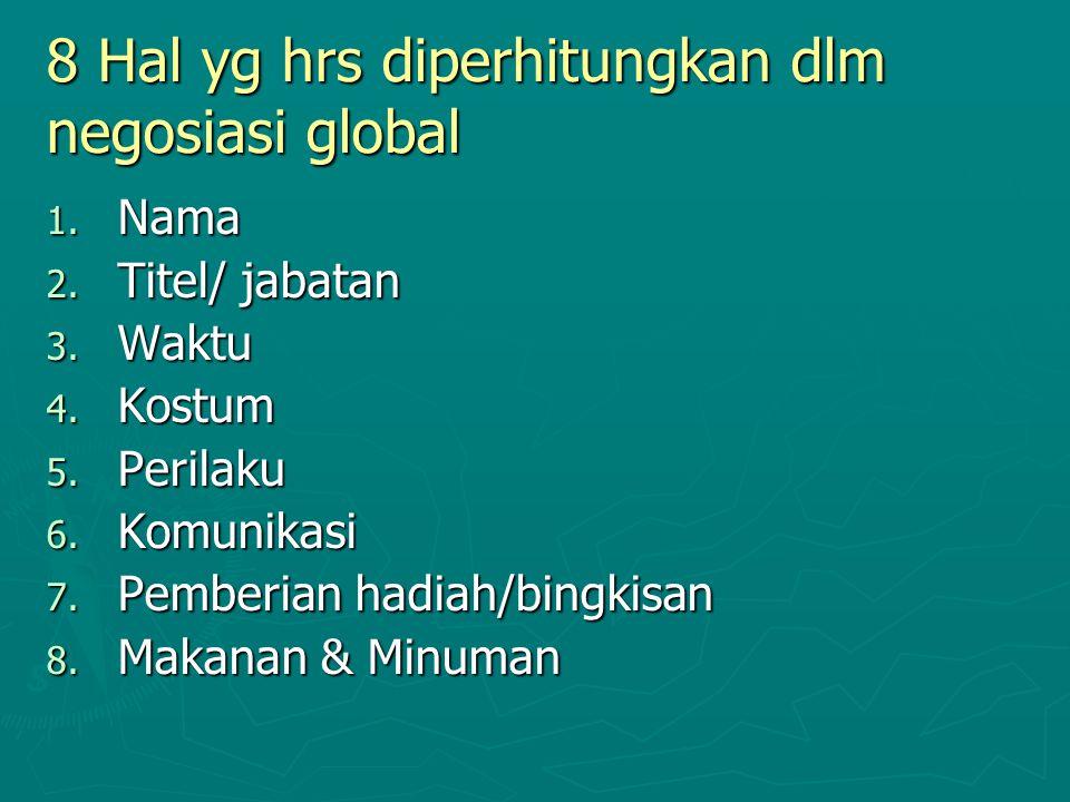 8 Hal yg hrs diperhitungkan dlm negosiasi global 1. Nama 2. Titel/ jabatan 3. Waktu 4. Kostum 5. Perilaku 6. Komunikasi 7. Pemberian hadiah/bingkisan