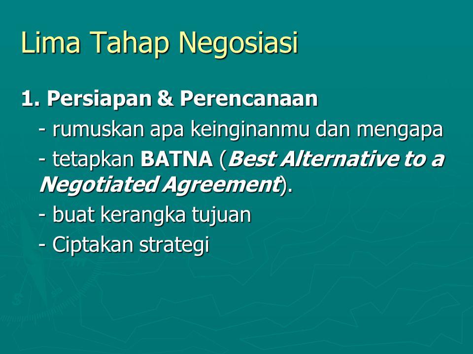 Lima Tahap Negosiasi 1. Persiapan & Perencanaan - rumuskan apa keinginanmu dan mengapa - tetapkan BATNA (Best Alternative to a Negotiated Agreement).