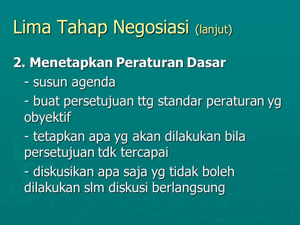 Lima Tahap Negosiasi (lanjut) 2. Menetapkan Peraturan Dasar - susun agenda - buat persetujuan ttg standar peraturan yg obyektif - tetapkan apa yg akan