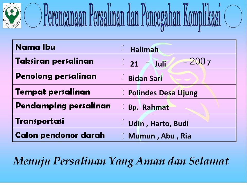 Halimah 21Juli 7 Bidan Sari P Polindes Desa Ujung p B p. Rahmat Udin, Harto, Budi Mumun, Abu, Ria