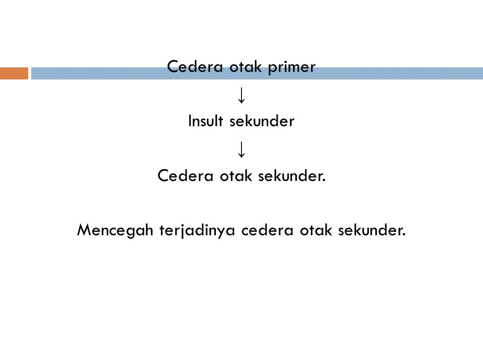 Cedera otak primer ↓ Insult sekunder ↓ Cedera otak sekunder. Mencegah terjadinya cedera otak sekunder.