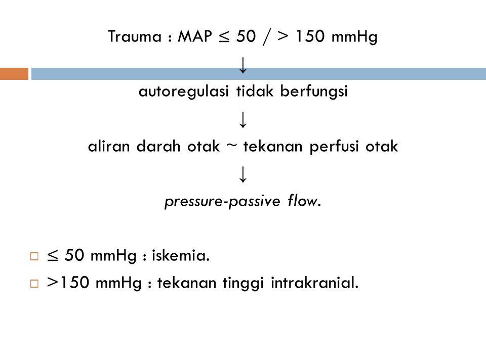 Trauma : MAP ≤ 50 / > 150 mmHg ↓ autoregulasi tidak berfungsi ↓ aliran darah otak ~ tekanan perfusi otak ↓ pressure-passive flow.  ≤ 50 mmHg : iskemi
