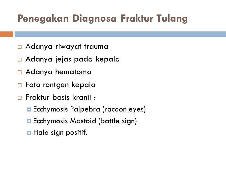 Penegakan Diagnosa Fraktur Tulang  Adanya riwayat trauma  Adanya jejas pada kepala  Adanya hematoma  Foto rontgen kepala  Fraktur basis kranii :