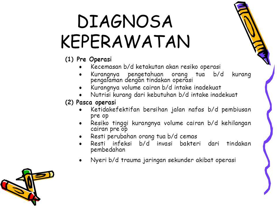 DIAGNOSA KEPERAWATAN (1)Pre Operasi  Kecemasan b/d ketakutan akan resiko operasi  Kurangnya pengetahuan orang tua b/d kurang pengalaman dengan tinda