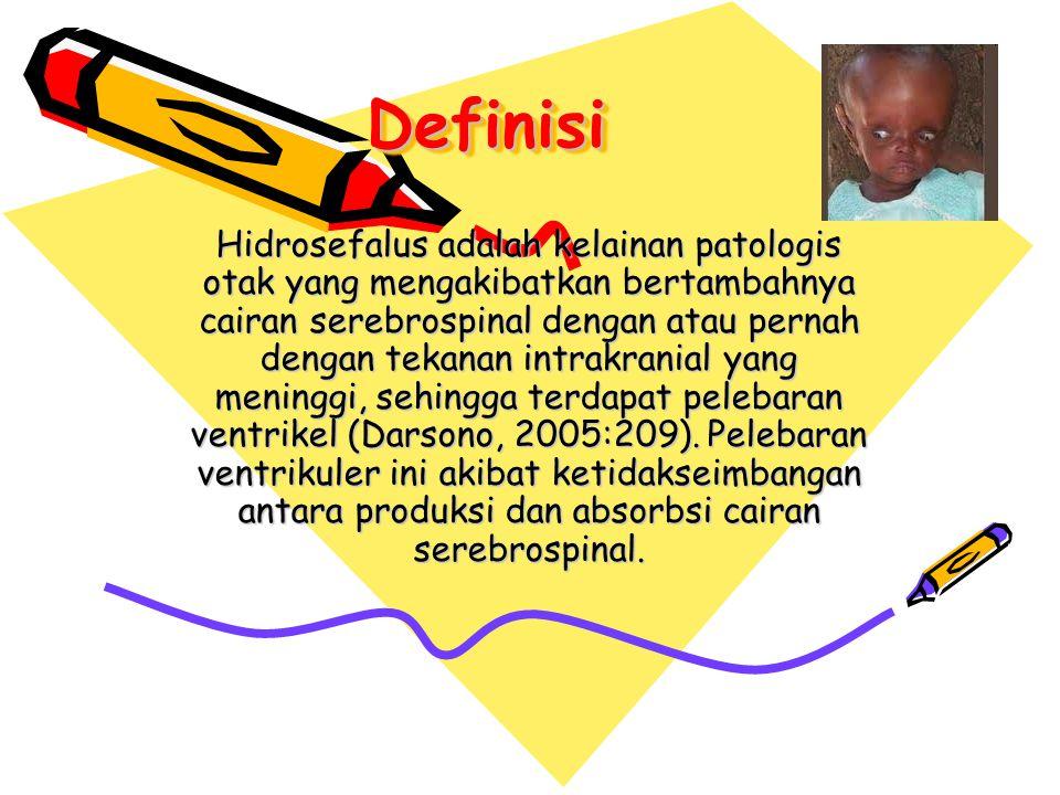 DefinisiDefinisi Hidrosefalus adalah kelainan patologis otak yang mengakibatkan bertambahnya cairan serebrospinal dengan atau pernah dengan tekanan in