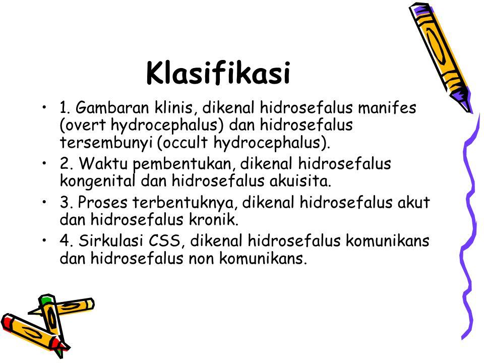 Klasifikasi 1. Gambaran klinis, dikenal hidrosefalus manifes (overt hydrocephalus) dan hidrosefalus tersembunyi (occult hydrocephalus). 2. Waktu pembe