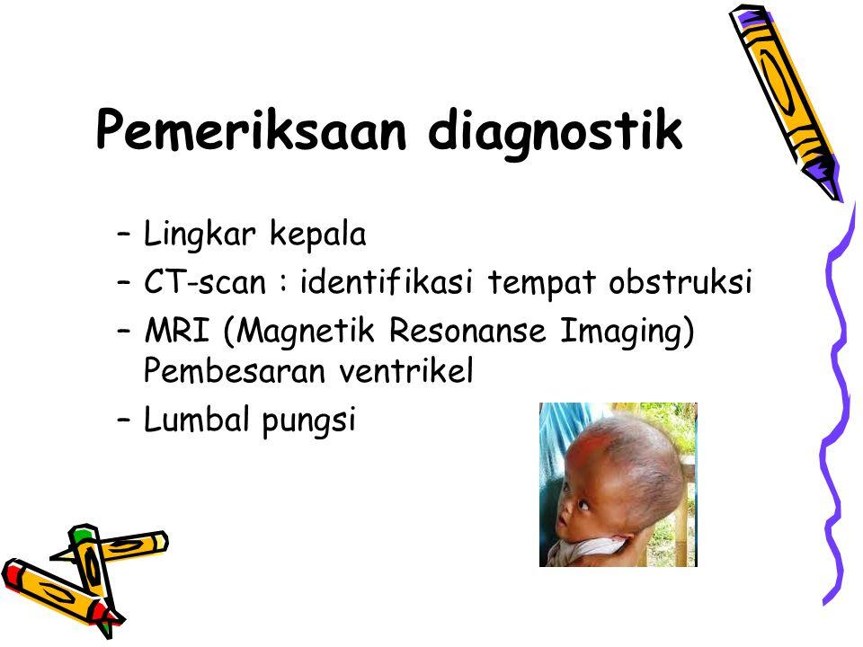 Pemeriksaan diagnostik –Lingkar kepala –CT-scan : identifikasi tempat obstruksi –MRI (Magnetik Resonanse Imaging) Pembesaran ventrikel –Lumbal pungsi