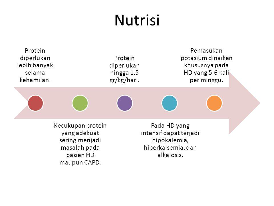 Protein diperlukan lebih banyak selama kehamilan. Kecukupan protein yang adekuat sering menjadi masalah pada pasien HD maupun CAPD. Protein diperlukan