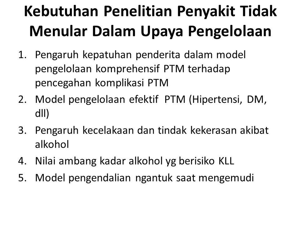 1.Pengaruh kepatuhan penderita dalam model pengelolaan komprehensif PTM terhadap pencegahan komplikasi PTM 2.Model pengelolaan efektif PTM (Hipertensi