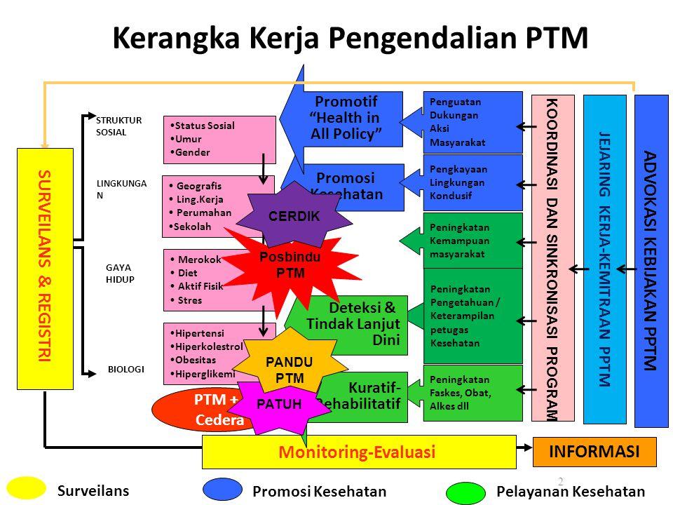 """Kerangka Kerja Pengendalian PTM 2 Promosi Kesehatan Promotif """"Health in All Policy"""" Merokok Diet Aktif Fisik Stres Geografis Ling.Kerja Perumahan Seko"""