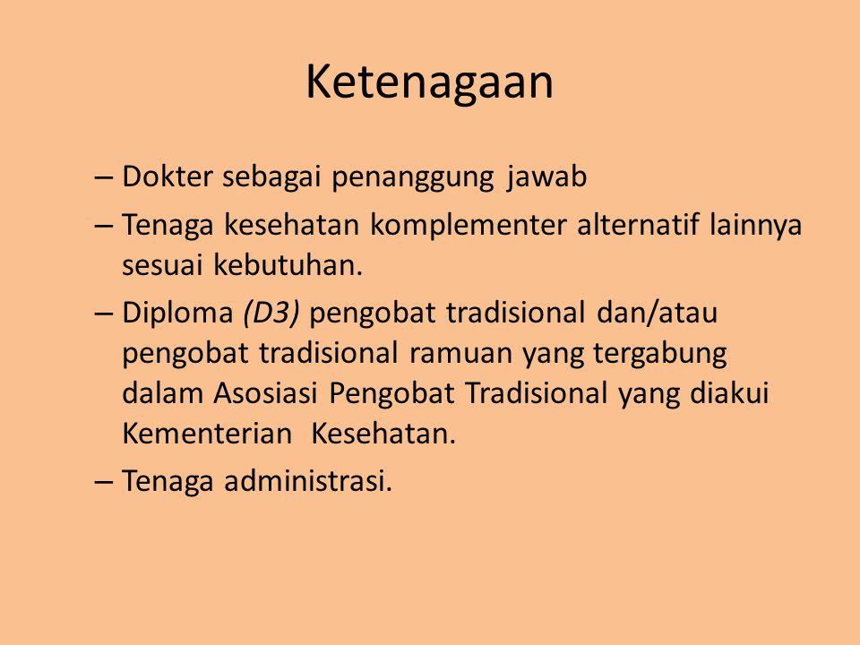 Ketenagaan – Dokter sebagai penanggung jawab – Tenaga kesehatan komplementer alternatif lainnya sesuai kebutuhan. – Diploma (D3) pengobat tradisional
