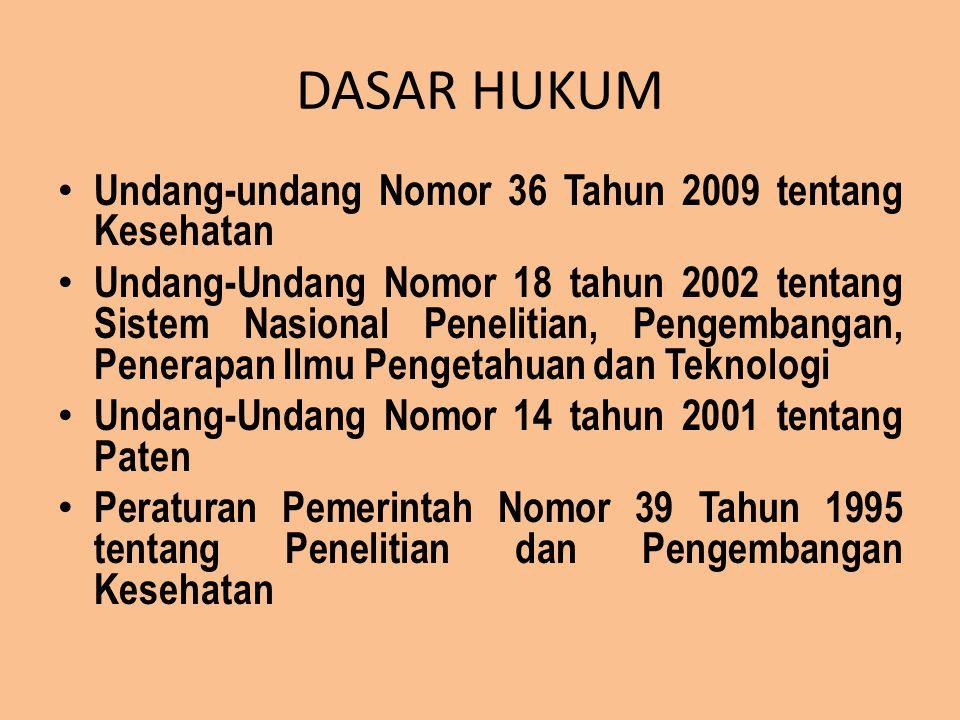 DASAR HUKUM Undang-undang Nomor 36 Tahun 2009 tentang Kesehatan Undang-Undang Nomor 18 tahun 2002 tentang Sistem Nasional Penelitian, Pengembangan, Pe