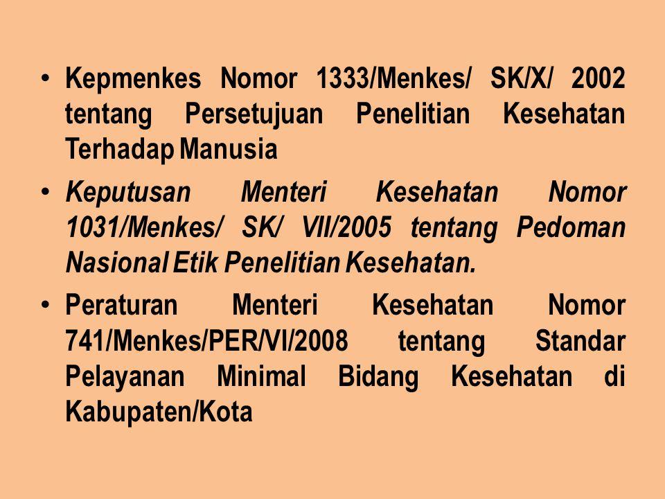 Kepmenkes Nomor 1333/Menkes/ SK/X/ 2002 tentang Persetujuan Penelitian Kesehatan Terhadap Manusia Keputusan Menteri Kesehatan Nomor 1031/Menkes/ SK/ V