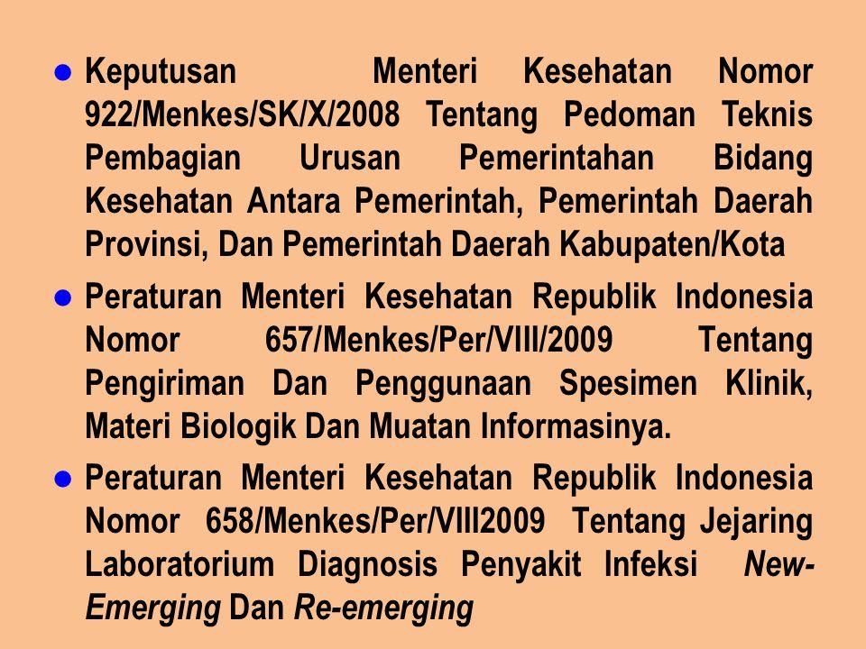 Keputusan Menteri Kesehatan Nomor 922/Menkes/SK/X/2008 Tentang Pedoman Teknis Pembagian Urusan Pemerintahan Bidang Kesehatan Antara Pemerintah, Pemeri