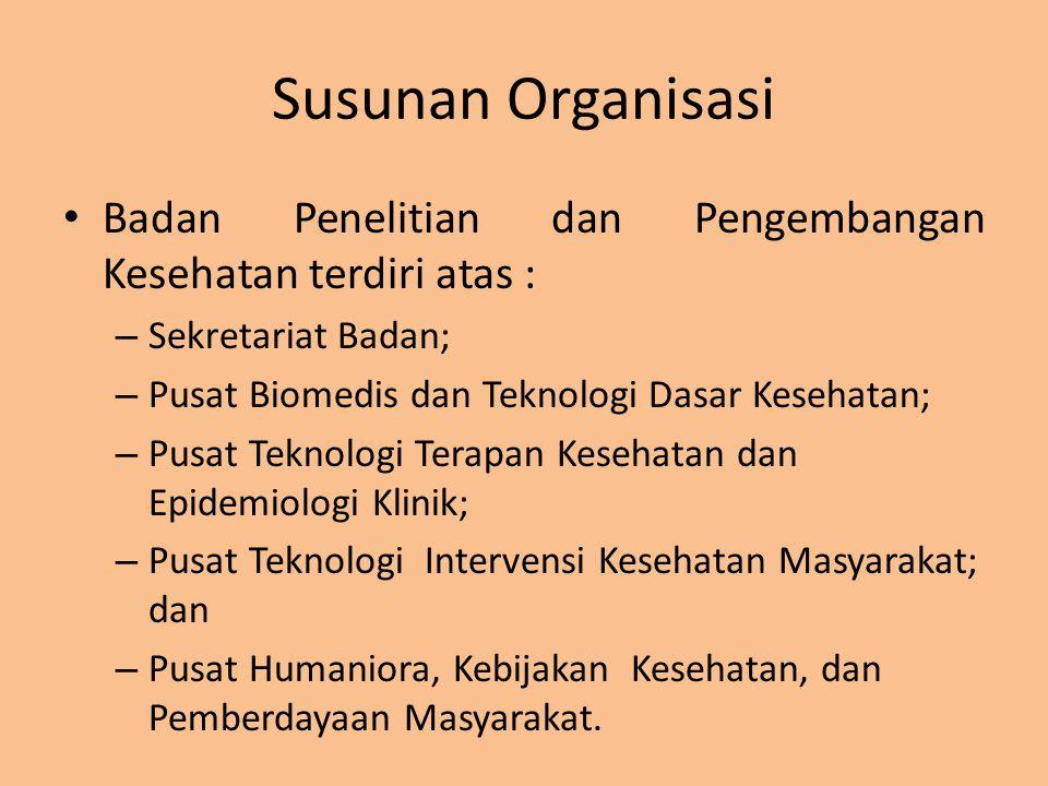 Susunan Organisasi Badan Penelitian dan Pengembangan Kesehatan terdiri atas : – Sekretariat Badan; – Pusat Biomedis dan Teknologi Dasar Kesehatan; – P