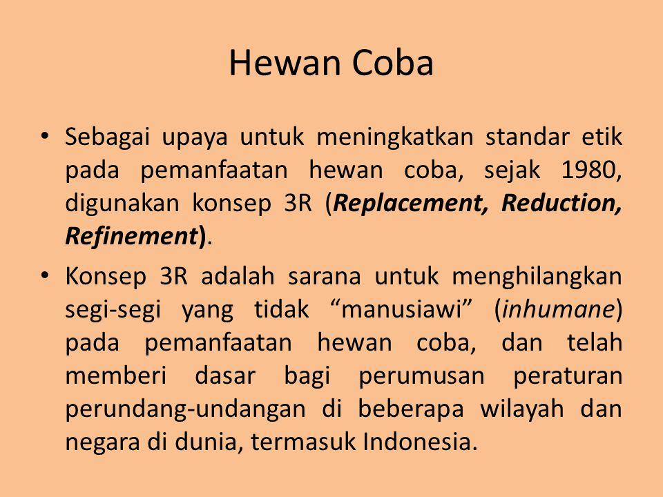 Hewan Coba Sebagai upaya untuk meningkatkan standar etik pada pemanfaatan hewan coba, sejak 1980, digunakan konsep 3R (Replacement, Reduction, Refinem