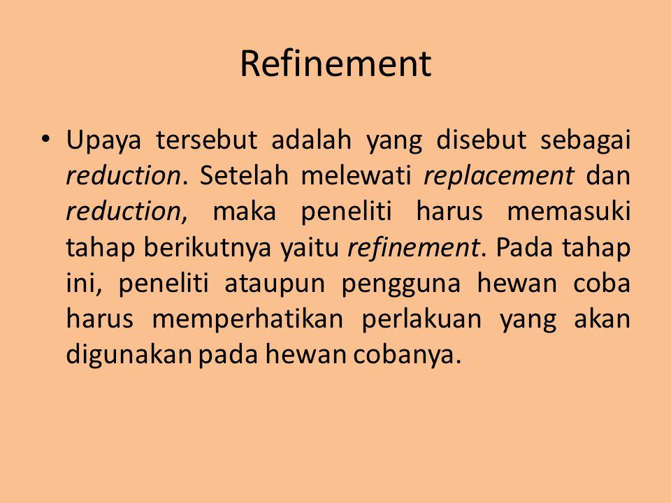 Refinement Upaya tersebut adalah yang disebut sebagai reduction. Setelah melewati replacement dan reduction, maka peneliti harus memasuki tahap beriku