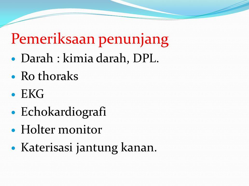 Pemeriksaan penunjang Darah : kimia darah, DPL.
