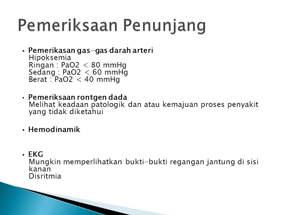 Pemerikasan gas-gas darah arteri Hipoksemia Ringan : PaO2 < 80 mmHg Sedang : PaO2 < 60 mmHg Berat : PaO2 < 40 mmHg Pemeriksaan rontgen dada Melihat ke