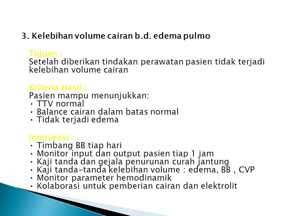 3. Kelebihan volume cairan b.d. edema pulmo Tujuan : Setelah diberikan tindakan perawatan pasien tidak terjadi kelebihan volume cairan Kriteria Hasil