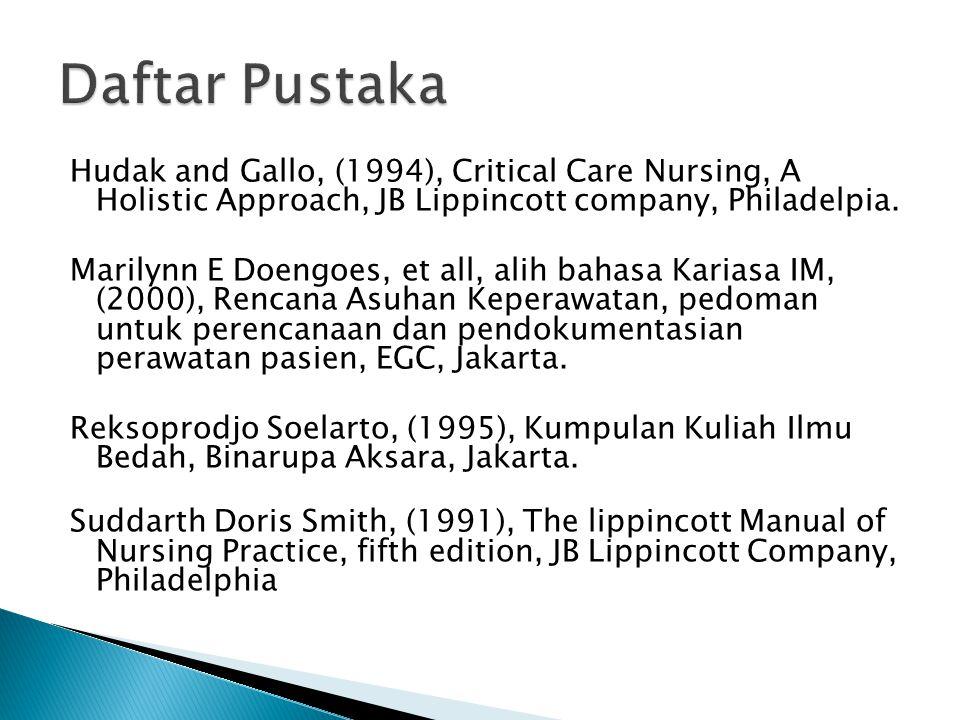 Hudak and Gallo, (1994), Critical Care Nursing, A Holistic Approach, JB Lippincott company, Philadelpia. Marilynn E Doengoes, et all, alih bahasa Kari
