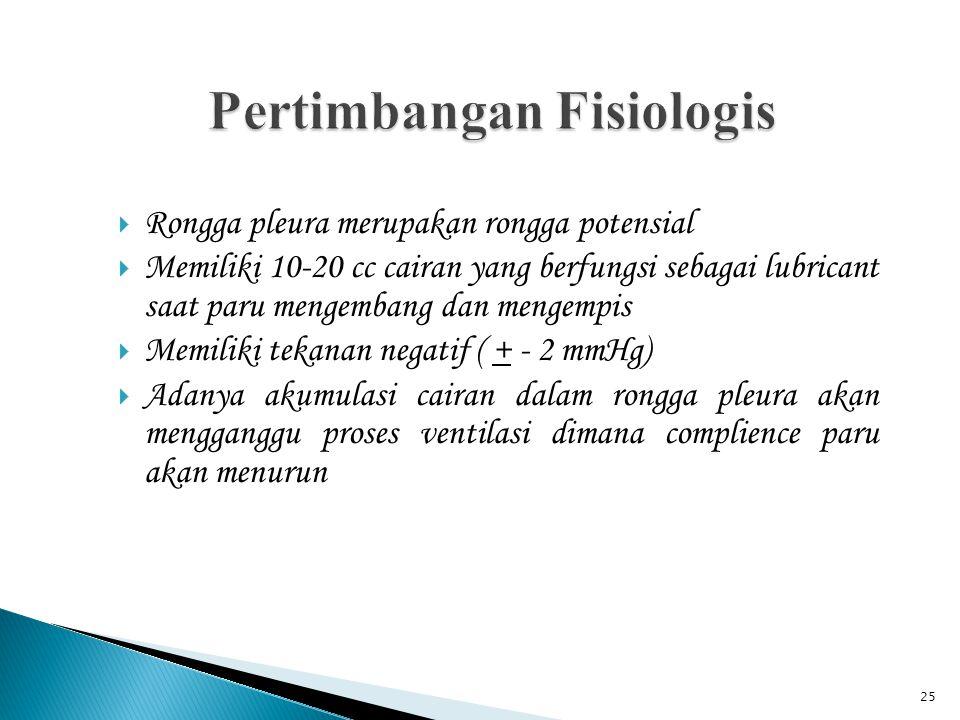 25  Rongga pleura merupakan rongga potensial  Memiliki 10-20 cc cairan yang berfungsi sebagai lubricant saat paru mengembang dan mengempis  Memilik