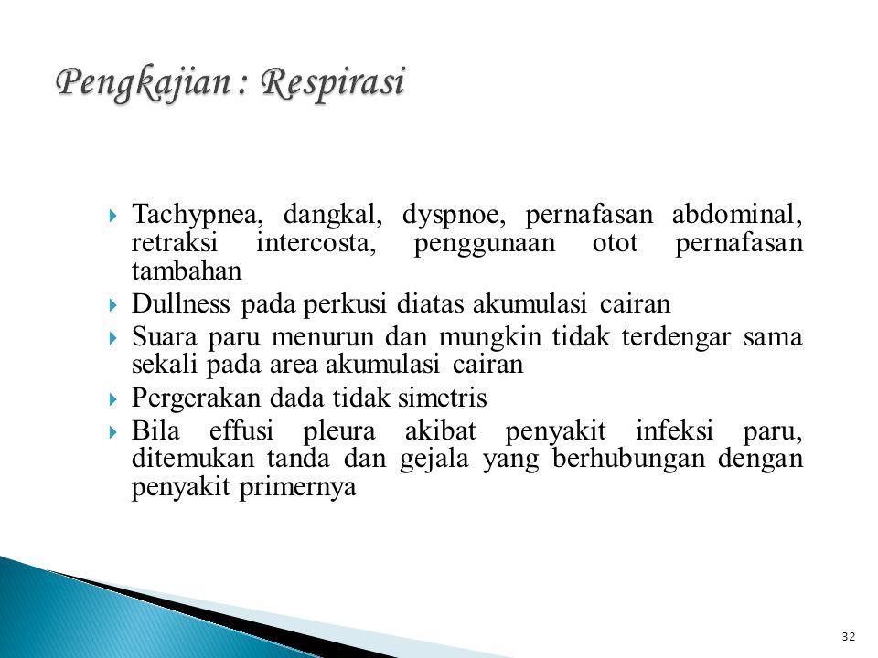 32  Tachypnea, dangkal, dyspnoe, pernafasan abdominal, retraksi intercosta, penggunaan otot pernafasan tambahan  Dullness pada perkusi diatas akumul