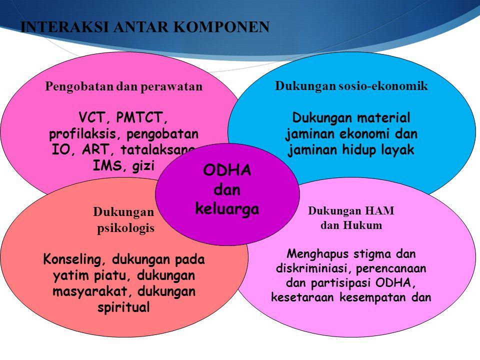 Pengobatan dan perawatan VCT, PMTCT, profilaksis, pengobatan IO, ART, tatalaksana IMS, gizi Dukungan sosio-ekonomik Dukungan material jaminan ekonomi dan jaminan hidup layak Dukungan HAM dan Hukum Menghapus stigma dan diskriminiasi, perencanaan dan partisipasi ODHA, kesetaraan kesempatan dan Dukungan psikologis Konseling, dukungan pada yatim piatu, dukungan masyarakat, dukungan spiritual ODHA dan keluarga INTERAKSI ANTAR KOMPONEN