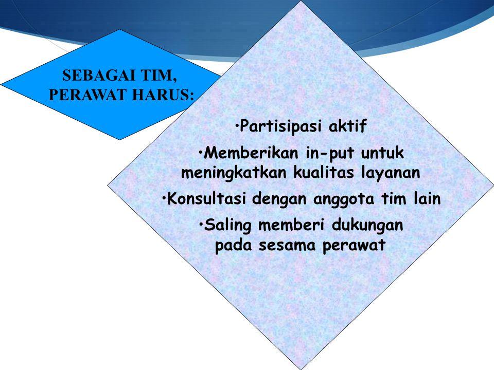 SEBAGAI TIM, PERAWAT HARUS: Partisipasi aktif Memberikan in-put untuk meningkatkan kualitas layanan Konsultasi dengan anggota tim lain Saling memberi dukungan pada sesama perawat