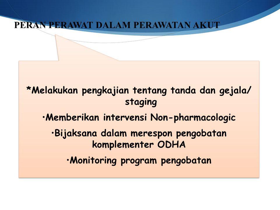 PERAN PERAWAT DALAM PERAWATAN AKUT *Melakukan pengkajian tentang tanda dan gejala/ staging Memberikan intervensi Non-pharmacologic Bijaksana dalam merespon pengobatan komplementer ODHA Monitoring program pengobatan *Melakukan pengkajian tentang tanda dan gejala/ staging Memberikan intervensi Non-pharmacologic Bijaksana dalam merespon pengobatan komplementer ODHA Monitoring program pengobatan