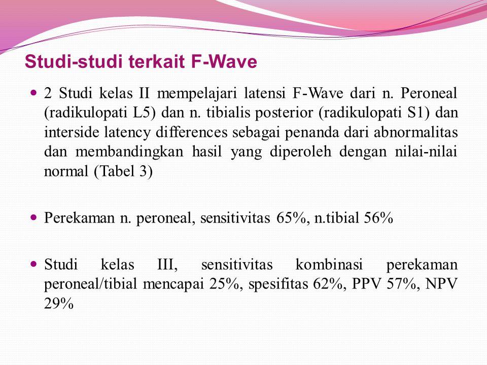 Studi-studi terkait F-Wave 2 Studi kelas II mempelajari latensi F-Wave dari n.