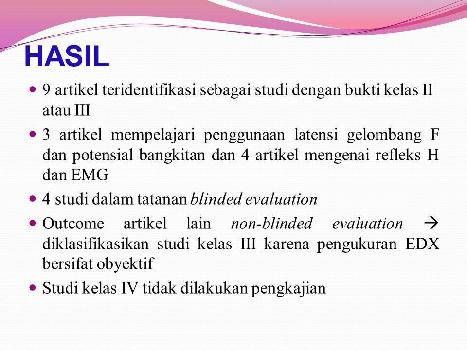 REKOMENDASI Studi akan datang harus menghilangkan potensi bias dan menyediakan data cukup untuk menentukan kontribusi independen dari teknik EDX yang digunakan dalam mendiagnosis tersangka radikulopati lumbosakral Unsur-unsur direkomendasikan untuk ketepatan diagnostik: 1.Desain penelitian kohort prospektif 2.Kohort mencakup spektrum luas 3.Standar acuan berbasis konsensus (standar baku) dari radikulopati lumbosakral harus dikembangkan untuk tujuan penelitian