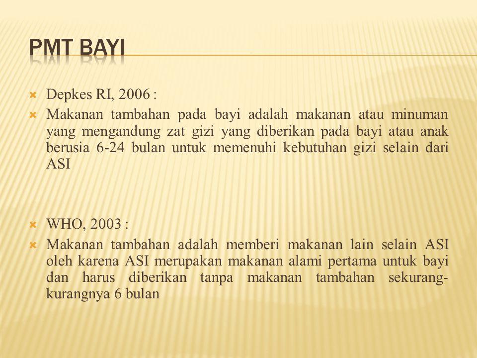  Depkes RI, 2006 :  Makanan tambahan pada bayi adalah makanan atau minuman yang mengandung zat gizi yang diberikan pada bayi atau anak berusia 6-24