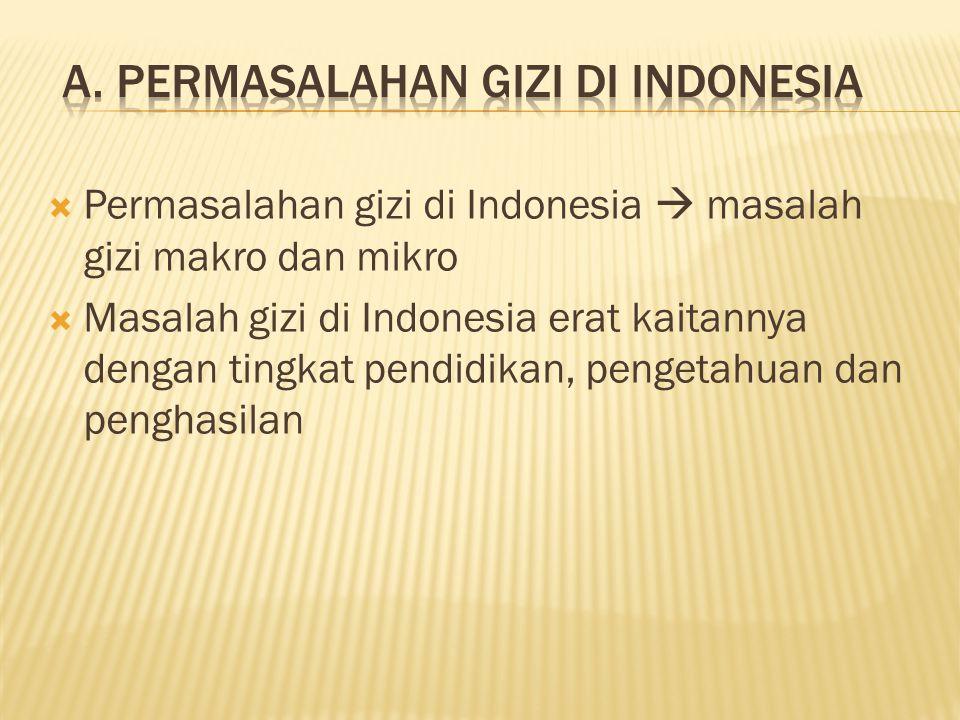  Permasalahan gizi di Indonesia  masalah gizi makro dan mikro  Masalah gizi di Indonesia erat kaitannya dengan tingkat pendidikan, pengetahuan dan