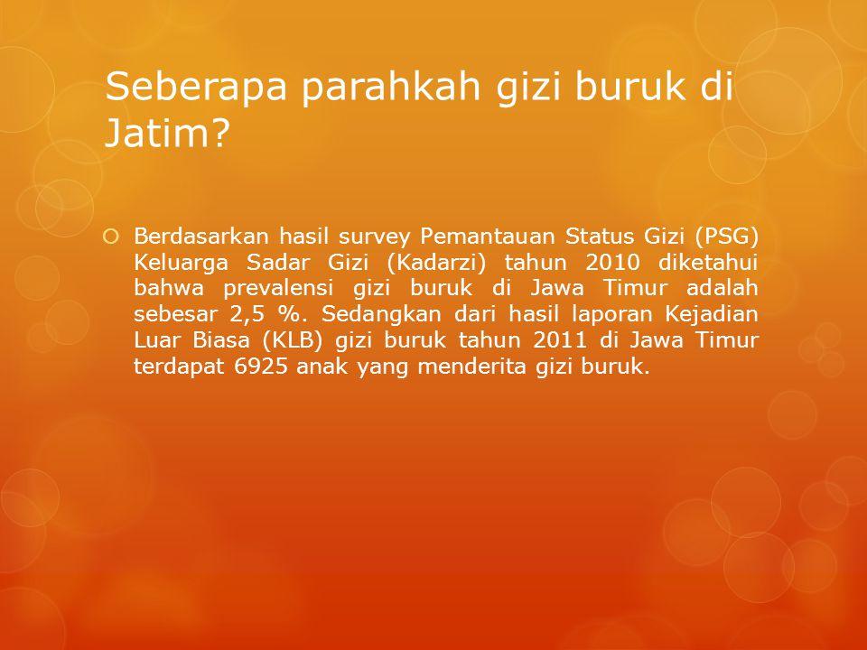 Seberapa parahkah gizi buruk di Jatim?  Berdasarkan hasil survey Pemantauan Status Gizi (PSG) Keluarga Sadar Gizi (Kadarzi) tahun 2010 diketahui bahw