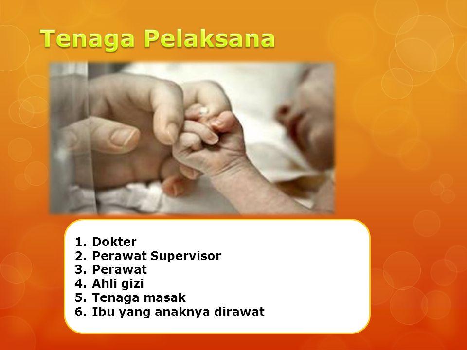 1.Dokter 2.Perawat Supervisor 3.Perawat 4.Ahli gizi 5.Tenaga masak 6.Ibu yang anaknya dirawat