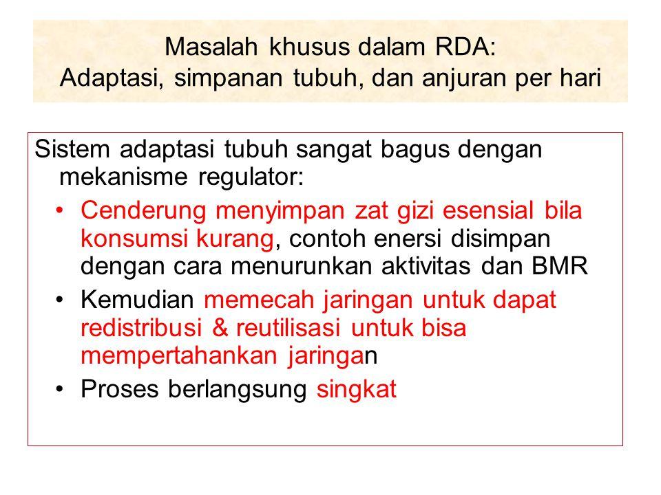 Masalah khusus dalam RDA: Adaptasi, simpanan tubuh, dan anjuran per hari Sistem adaptasi tubuh sangat bagus dengan mekanisme regulator: Cenderung meny