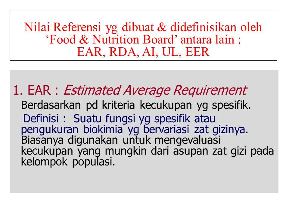 Nilai Referensi yg dibuat & didefinisikan oleh 'Food & Nutrition Board' antara lain : EAR, RDA, AI, UL, EER 1. EAR : Estimated Average Requirement Ber