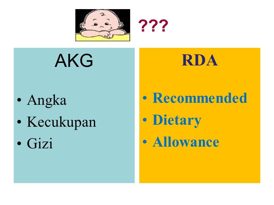 Anjuran gizi untuk bayi sesuai dengan jumlah zat gizi asal ASI yang berasal dari ibu sehat dan gizi baik, yang kandungan gizinya seimbang RDA untuk bayi umur 6 bulan sesuai kandungan zat gizi ASI RDA diatas satu tahun tergantung besar konsumsi susu formula dan makanan padat